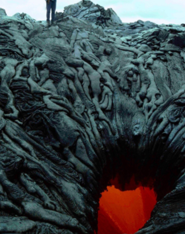 In Hawaii there are anthropomorphic lava formations that look like they're straight from the underworld.