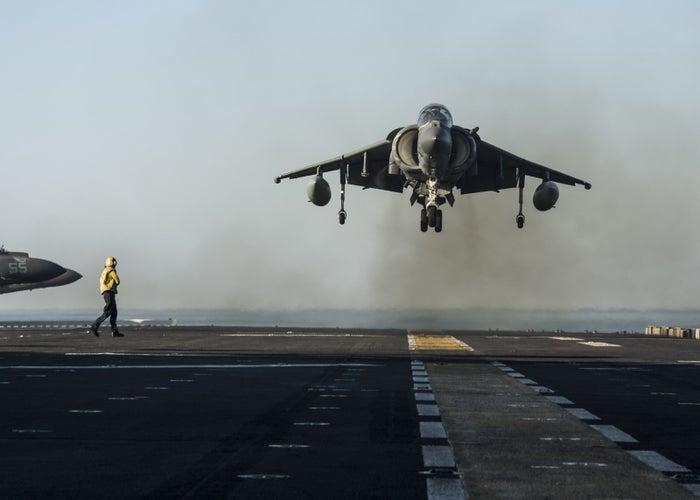 A Marine AV-8B Harrier lands on a US Navy ship in the Gulf of Aden in January.