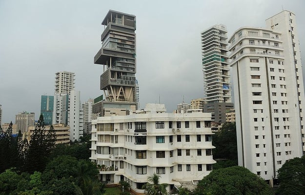 The building is called Antilia, and it's the private residence of Mukesh Ambani, the chairman of Reliance Industries. It cost Mr. Ambani a cool $1 billion.