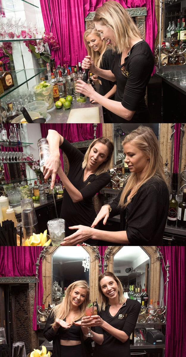 Then it was time to learn how to make drinks because alcohol is such an integral part of this legendary show. Ariana, queen of being relatively drama-free despite being a cast member, was there to show me how to make their best-seller. It's called the Big Pinky. Of course.