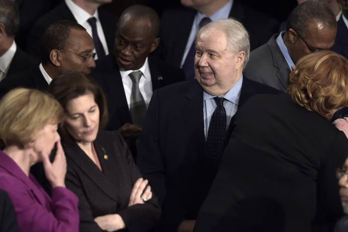 Russian Ambassador to the US Sergey Kislyak arrives before US President Donald Trump addresses a joint session of the US Congress.
