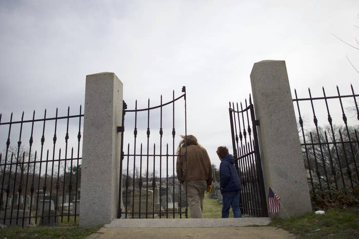 Mount Carmel Cemetery in Philadelphia, where Jewish tombstones were vandalized on Feb. 27.