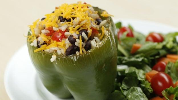 Dinner: Black Bean And Rice-Stuffed Bell Pepper