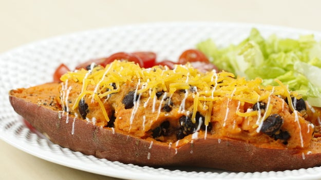 Dinner: Black Bean And Cheese-Stuffed Sweet Potato