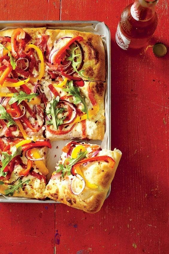 You can also use whatever sauce you'd like (BBQ, ranch dressing, creamy alfredo... the possibilities are endless)or no sauce at all. If you're looking for explicit instructions, though, the original topping combo, White Pizza with Salami and Peppers, is here for you. Get it on MyRecipes, from Southern Living.