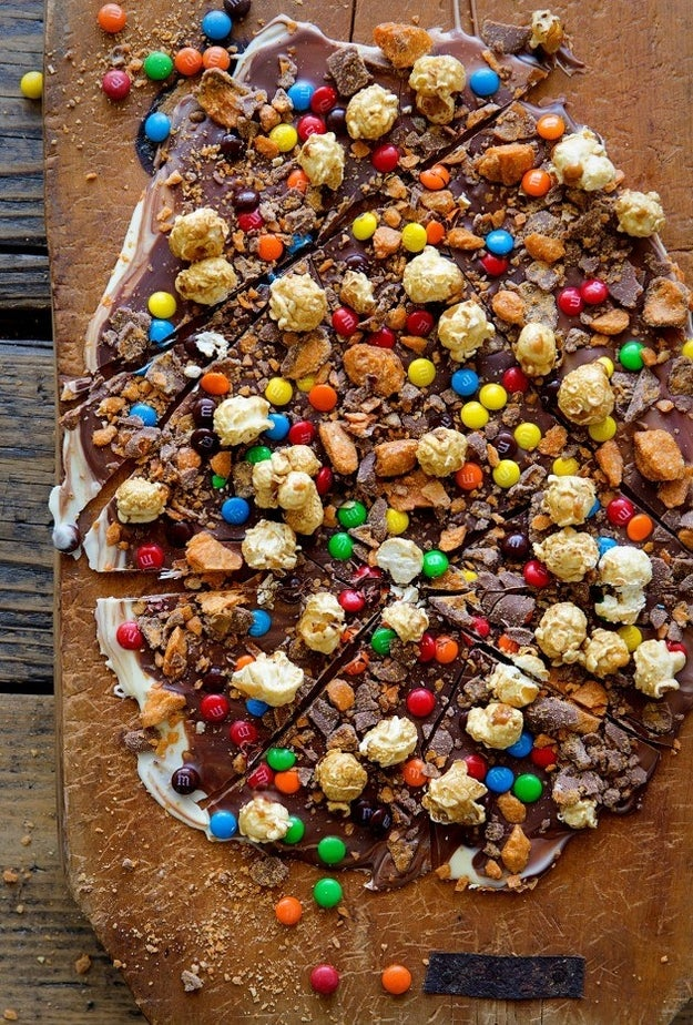 Caramel Popcorn Candy Bark