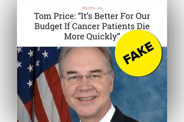 A hoax story with an completely false quote from Health and Human Services Secretary Tom Price is inspiring anger and hate all over Facebook. The story originated on fake news site USPoln.com.