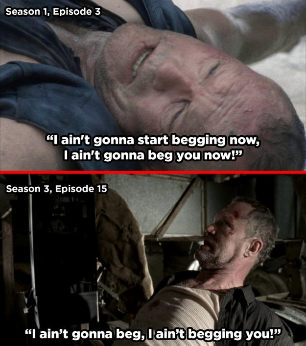 What Merle says while stuck on the roof is the same as what he says right before the Governor kills him.