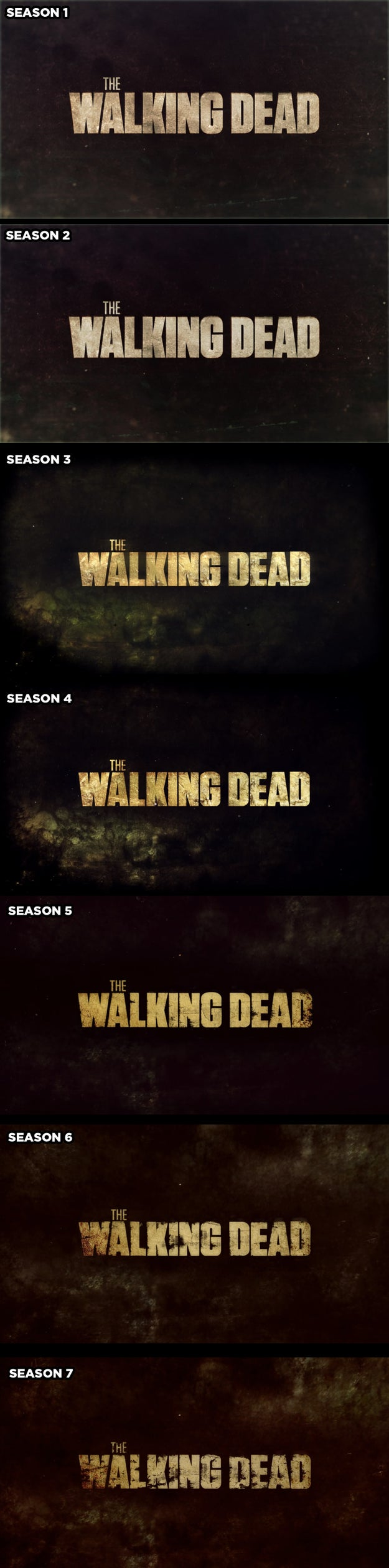 The title screen during the opening credits decays a little every season.