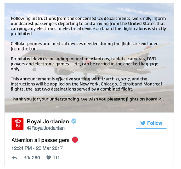 Here's the original, deleted Royal Jordanian tweet.