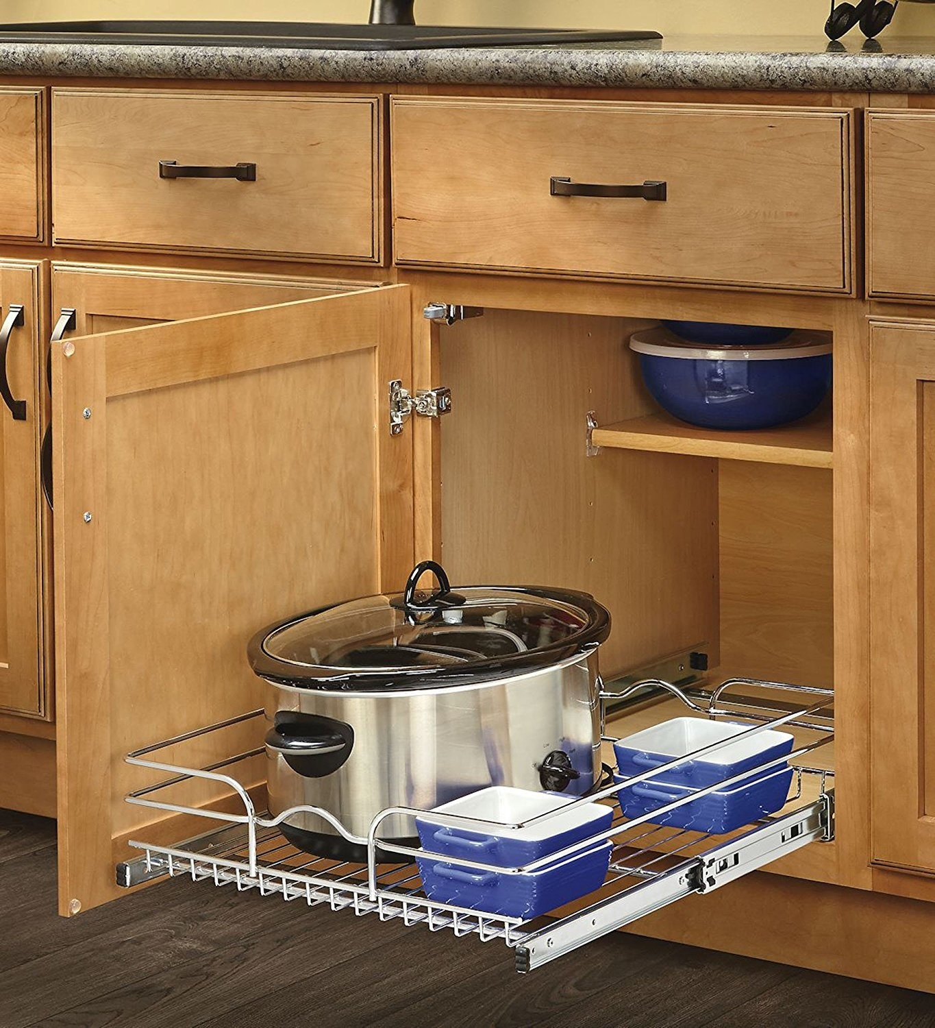 make your cabinet space a little more accessible with slideout racks that can hold your pots lids and baking tools