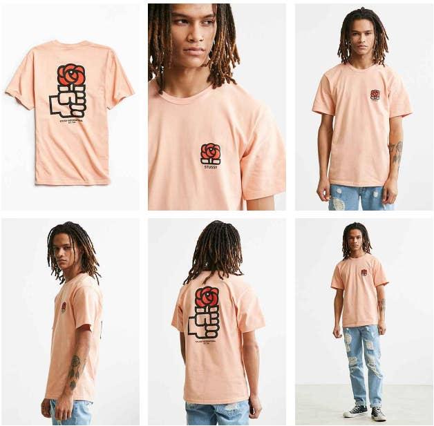 La camiseta, que cuesta 34 dólares, pertenece a una colección donde también pueden encontrarse los viejos logos de Atari, PlayStation, Fila, Nike o la Nasa. La firma ha escogido la emblemática imagen del puño y la rosa que el Partido Socialista utilizó en los primeros años de la democracia.
