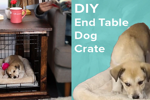 Turn A Plain Old Dog Crate Into A Double Duty End Table