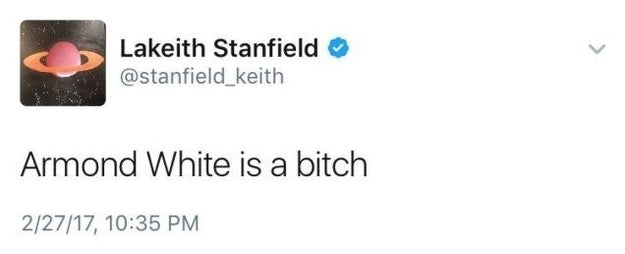 Get Out actor Lakeith Stanfield definitely didn't hide his thoughts about White's review on Twitter.