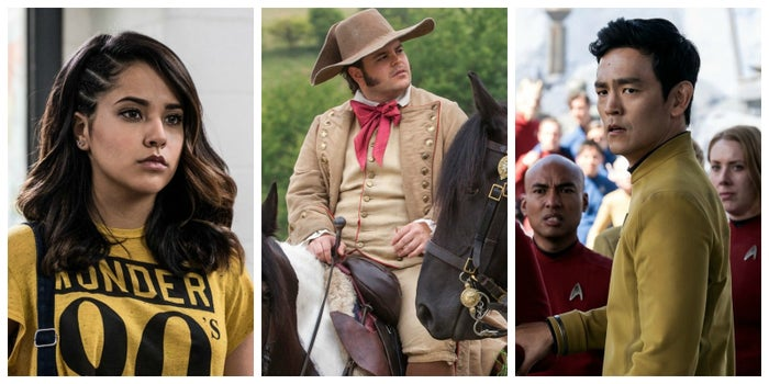 Becky G. as Trini in Power Rangers, Josh Gad as LeFou in Beauty and the Beast, and John Cho as Sulu in Star Trek Beyond.