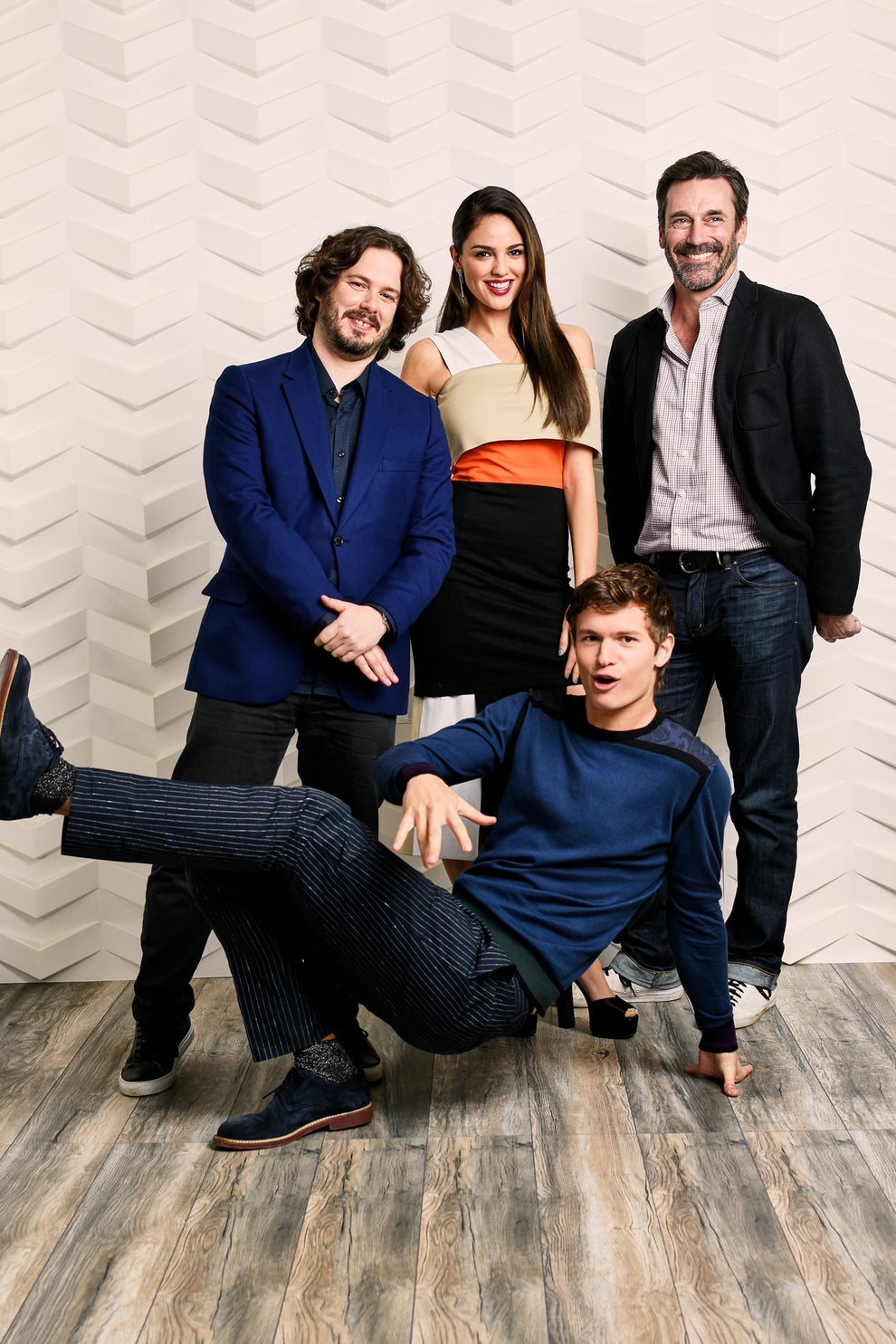 Baby Driver writer-director Edgar Wright with stars Eiza Gonzalez, Jon Hamm, and Ansel Elgort
