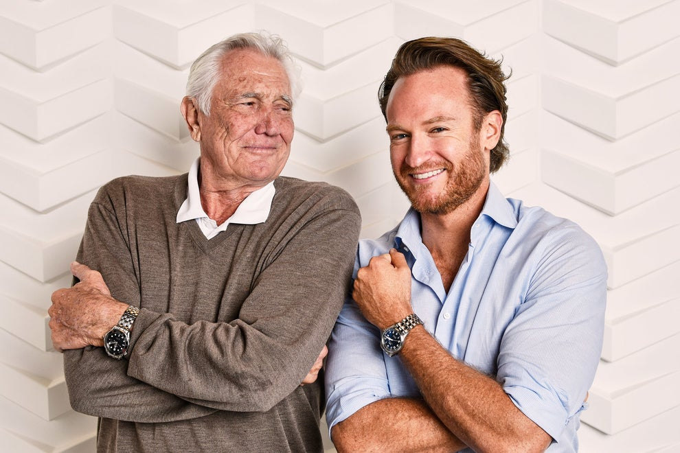 Becoming Bond star Josh Lawson with George Lazenby aka James Bond