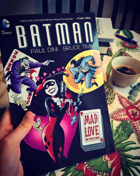 "This Batman spin-off was written by the creators of the animated series, and is a collection of stories about characters in the universe.""It's got Harley Quinn's origin story in there and a bunch of other awesome Batman stories."" – emilyem-lemb"