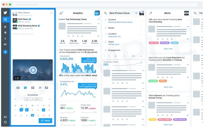 A mockup included in a Twitter survey shows an enhanced version of the company's Tweetdeck app.