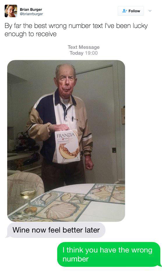 This person who got a text from an old man with boxed wine: