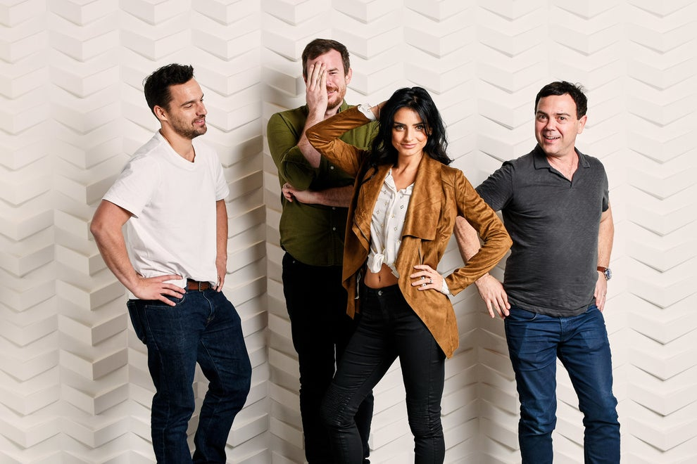 Win It All star and co-writer Jake Johnson with stars Joe Lo Truglio, Aislinn Derbez, and co-writer-director Joe Swanberg