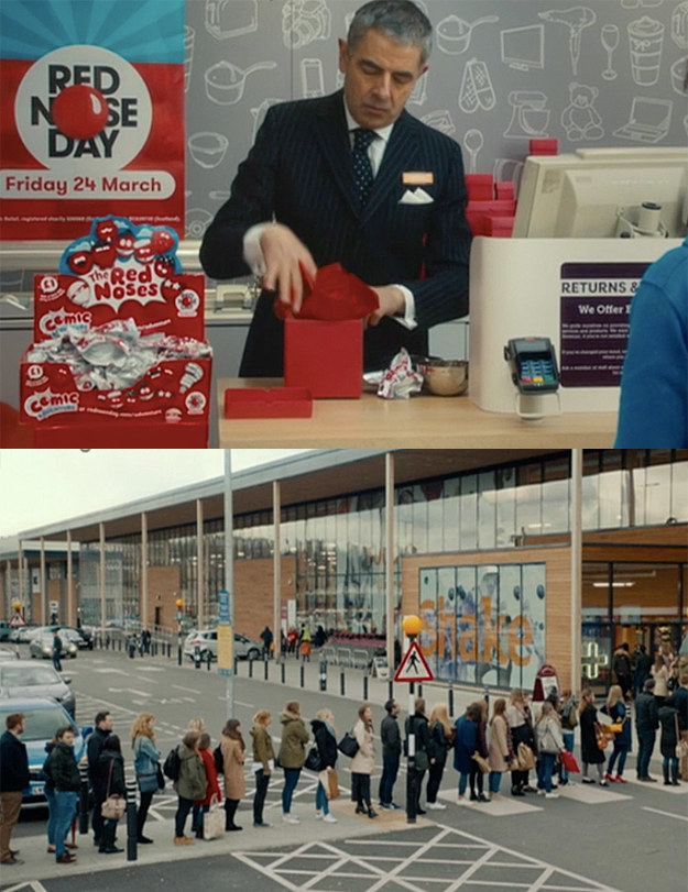 Meanwhile, Rufus (Rowan Atkinson) is working at a supermarket and his queues are magnificent.