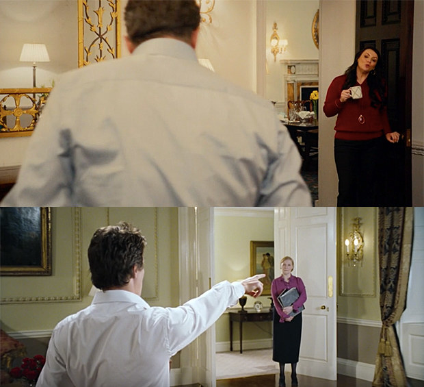 He gets a right telling-off from Natalie (Martine McCutcheon) for dancing at the top of the stairs, in the same position he danced in the original.