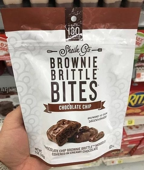 Made with chocolate chip brownie brittle batter, Sheila G's Brownie Brittle Bites is baked to perfection, cut into bite-sized pieces, and covered in rich, creamy chocolate. These are sold in 5 oz, resealable bag to maintain freshness.