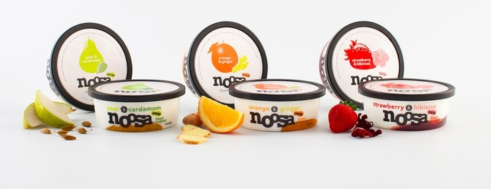The brand new tart and sweet flavors from noosa yoghurt are a blend of the perfect exotic flavor combinations complimented with noosa's rich and creamy plain yoghurt made with whole milk. The orange & ginger infuses the flavors of tree-ripened oranges and freshly minced ginger for a delightful mix of sweet and spice, while the strawberry & hibiscus highlights plump ripe strawberries that have been gently muddled are combined with real hibiscus flowers for an exotic, aromatic treat. Finally, the pear & cardamom features juicy Bartlett pears that are slowly stewed with Indian cardamom, creating the perfect pairing.