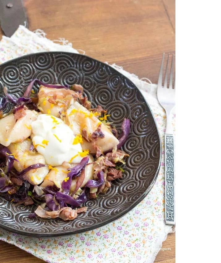 Old world Ukrainian and Italian flavours collide in this delicious ultra modern dish of perogies, prosciutto and braised cabbage: Recipe Here