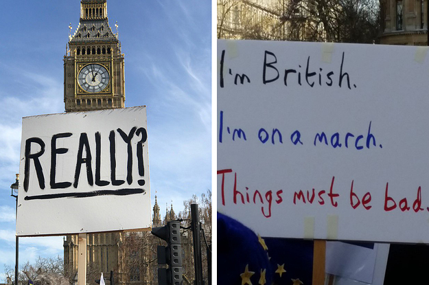 Literally Just 17 Surprisingly British Signs From London's March Against Brexit