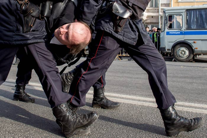 Police broke up a peaceful demonstration in Moscow on Sunday.