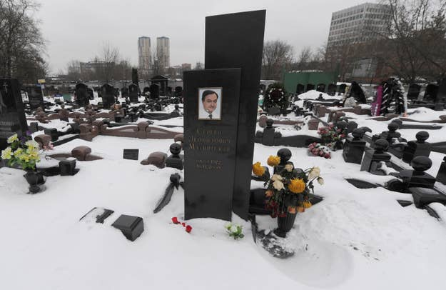 A picture taken on December 7, 2012, shows snow clad grave of Russian lawyer Sergei Magnitsky