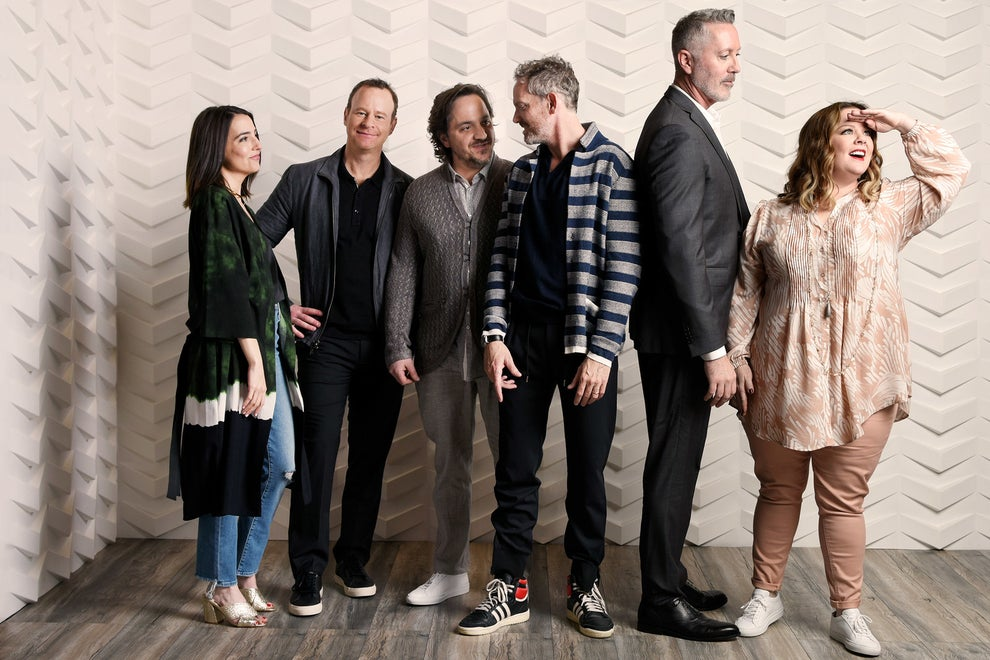 Nobodies executive producers Melissa McCarthy and Ben Falcone with showrunner Michael McDonald and stars Hugh Davidson, Larry Dorf, and Rachel Ramras