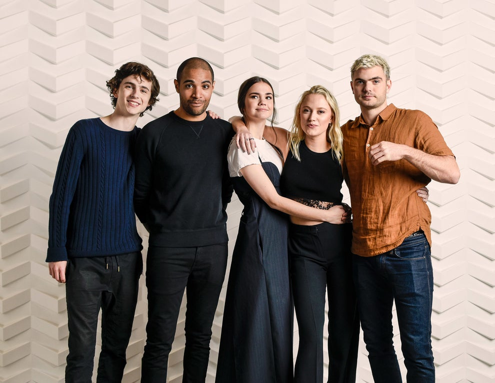 Hot Summer Nights stars Timothee Chalamet, Maia Mitchell, Maika Monroe, and Alex Roe with writer/director Elijah Bynum