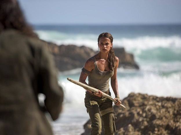 Now, Alicia Vikander is starring as 21-year-old Lara Croft in the franchise's 2018 reboot, which focuses on the hero's origin story. And from these first images, it's clear Vikander's Croft is very different from Jolie's Croft because LOOK, SHE'S WEARING PANTS.