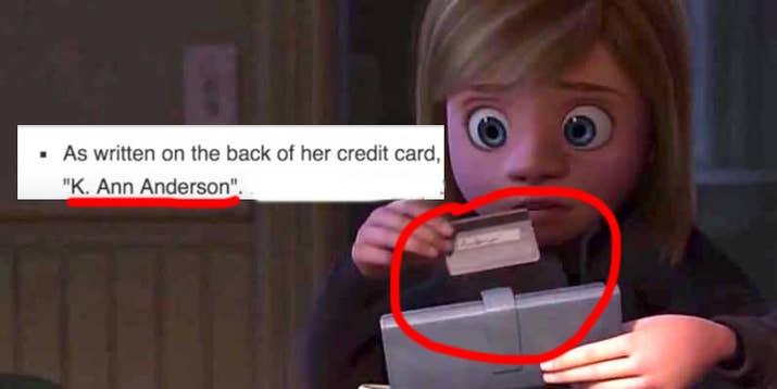 La página de Pixar Wiki de la mamá de Riley alguna vez dijo que en la parte trasera de su tarjeta de crédito se podía leer 'K. Ann Anderson', que es el nombre de la mamá de Bonnie en Toy Story 3, aunque su nombre es 'Jill Andersen', con una 'e'. —gracecrxmb