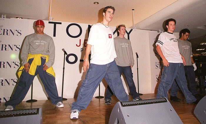 The boy band O-Town performs at the Manhattan Mall in New York City in 1999.
