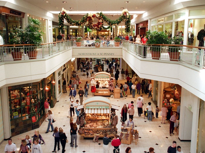 In this November 1996 picture, shoppers at Los Angeles's Brea Mall are busy scurrying through stores looking for bargains.
