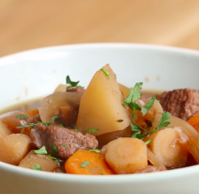 Servings: 8-10INGREDIENTS3 pounds beef chuck roast⅓ cup flour1 tablespoon salt½ tablespoon pepper1 tablespoon olive oil1 cup red onion, diced1 celery stalk, diced1 carrot, diced3 garlic cloves, minced28 ounces plum tomatoes, canned2 cups red wine1 tablespoon fresh parsley, chopped1 tablespoon fresh sage, chopped1 bay leaf½ tablespoon saltPREPARATIONIn a small bowl, combine flour, salt, and pepper.Rub the flour mixture on the beef, making sure it is covered entirely.Heat oil in large skillet. Sear the meat on every side until golden brown.Transfer meat into slow cooker.Add onion, celery, carrot, garlic, tomatoes, wine, herbs, bay leaf, and salt.Cook on low for 8 hours.Serve it with your favorite side dish and sprinkle some freshly chopped parsley. Enjoy!Inspired by recipe here.
