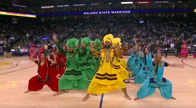 The halftime show was part of the NBA's 'Bollywood nights', which is happening across the league.