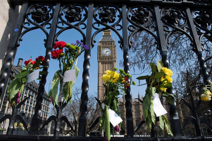 Floral tributes outside Westminster Palace, Mar. 27.