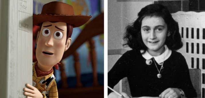 El líder de los juguetes, Woody, sugiere que se escondan en el ático, al estilo de Anne Frank, pero los atrapan y los envían a la guardería, un lugar donde los 'concentran' y son maltratados de forma rutinaria (sólo que por niños en lugar de nazis). Oscuro, para ser honestos.—fnchdarcy