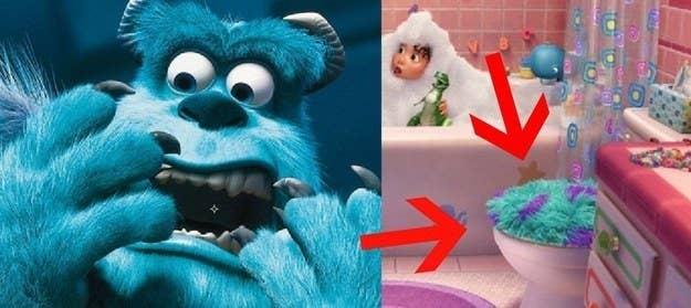 En Monsters, Inc., Randall dice, 'Escuché que los humanos utilizan la piel de los monstruos para hacer cubiertas para el asiento del excusado'. Y en un corto de Pixar, Partysaurus Rex, MIRA LA CUBIERTA DEL ASIENTO DEL EXCUSADO. ADIÓS.—Spencer Althouse