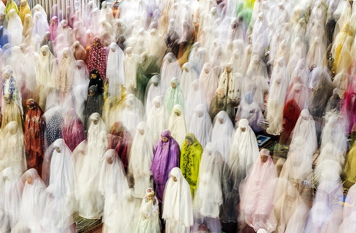 """This shot is of women praying inside Istiqlal Mosque in Central Jakarta, Indonesia, during the month of Ramadan."" —Pradeep Raja Kannaiah"