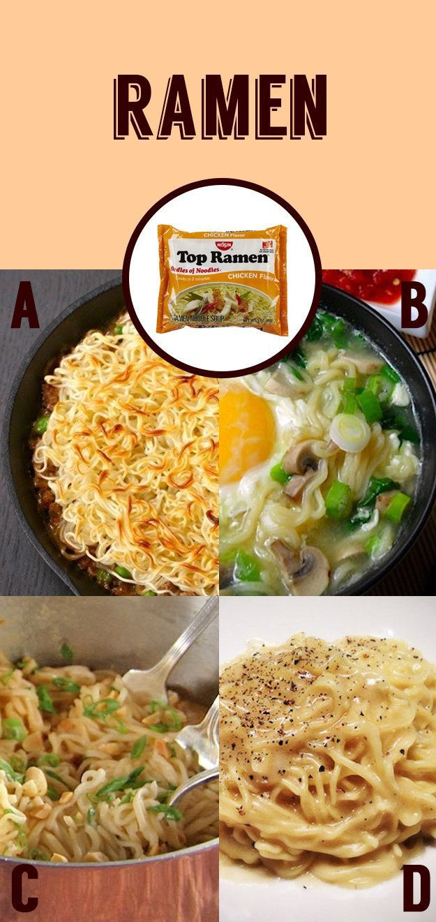 Get the recipes for instant ramen-shepherd's pie, -pad thai, and -cacio e pepe here.