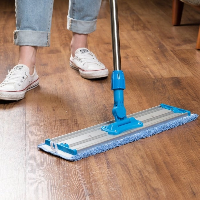 """The swivel handle lets you clean hard-to-reach areas (under your couch! under your TV stand!), while the microfiber cloth ensures a deep clean. Take that, old mop!Promising review: """"This thing is AWESOME! I am a senior citizen with health and strength issues, and was beginning to think I wouldn't be able to mop my floors much longer. Not true! This mop means no more heavy buckets of water to empty, and no more heavy, wet, and stringy mops to deal with. I love this microfiber mop and will never go back to the old way of cleaning my floors. A+++"""" —Alice KaneGet it from Amazon for $39.98."""