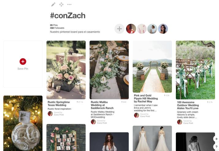 Yo robé la idea del altar con flores de una producción profesional y utilicé Pinterest para armar una guía de estilo que pude compartir con todos los involucrados en organizar la boda como referencia.