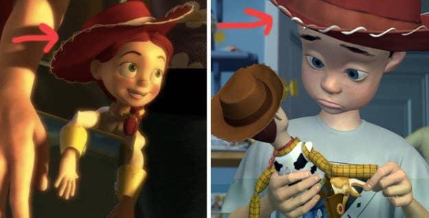 Antes que nada, el sombrero que usa Andy en la primer película de Toy Story no se basa en Woddy, se basa en Jessie, pero le falta el listón blanco, lo que sugiere que es antiguo, posiblemente se lo dio su mamá. Tampoco sabemos el nombre de la mamá de Andy, así que es muy posible que sean la MISMA PERSONA.—piajeraldinem