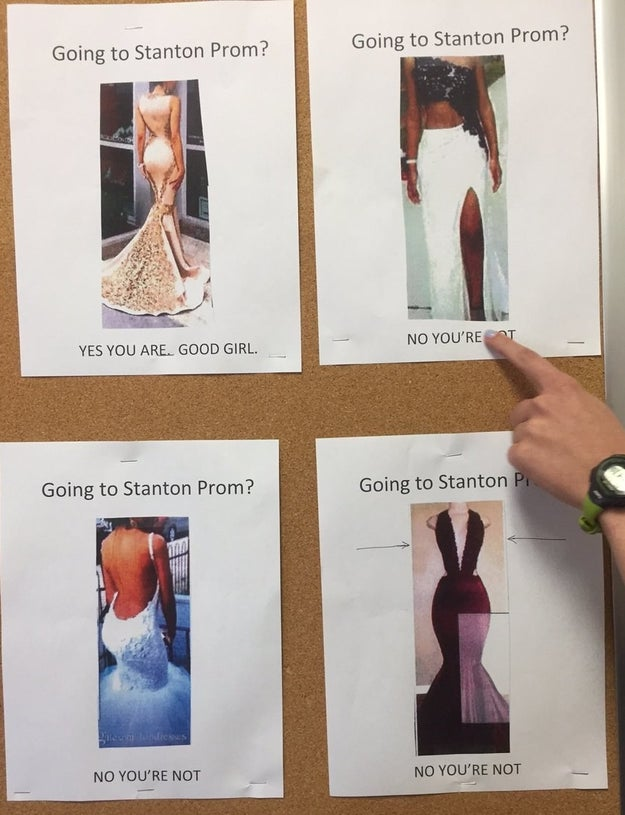 On Monday, these prom dress code flyers appeared on the walls of Stanton College Prep, a public high school in Jacksonville, Florida.